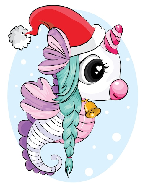 Schönes einhorn mit weihnachtsmütze und glockenhintergrund. weihnachtskartenillustration. Premium Vektoren