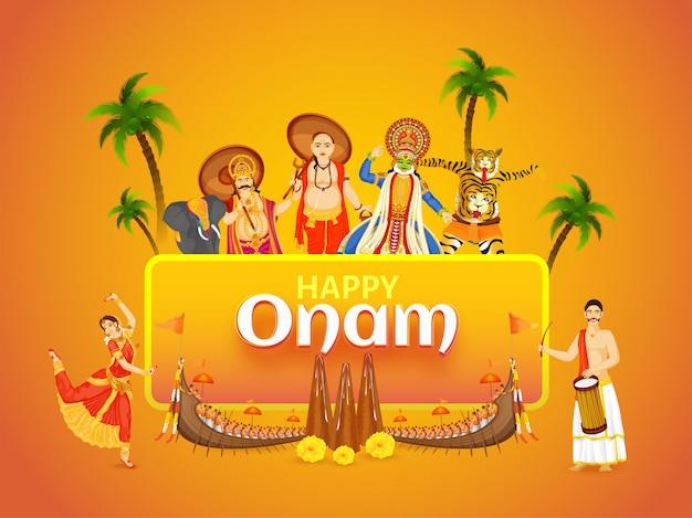 Schönes festivalkarten- oder -plakatdesign mit der illustration, die kultur und tradition von kerala zeigt Premium Vektoren