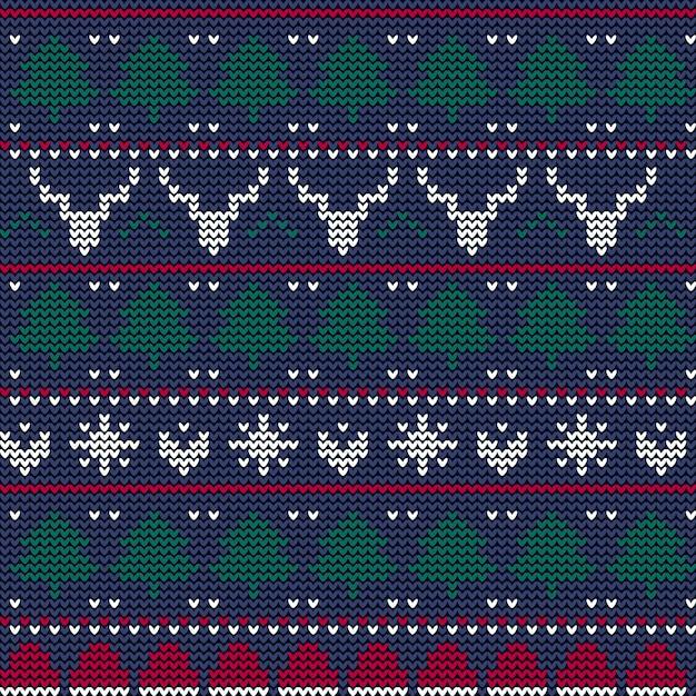 Schönes gestricktes weihnachtsmuster Kostenlosen Vektoren