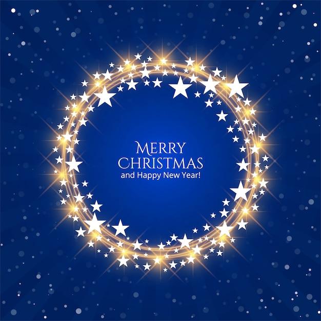 Schönes glänzendes sternweihnachtsfestival für blauen hintergrund Kostenlosen Vektoren