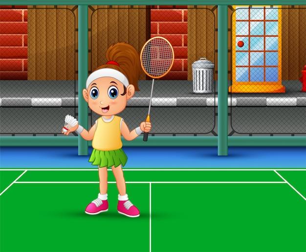 Schönes mädchen, das badminton am gericht spielt Premium Vektoren