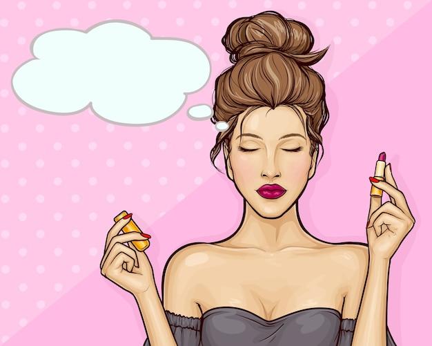 Schönes mädchen, das lippenstift im pop-art-stil hält Kostenlosen Vektoren