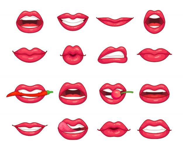 Schönes mädchen lächelnd, küssen, beißen pfeffer Premium Vektoren