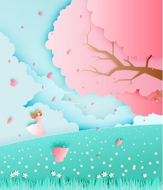 Schönes mädchen mit kirschblütenbaum in der grasfeldpapierkunstart-vektorillustration Premium Vektoren