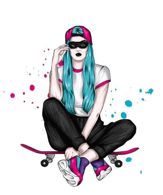 Schönes mädchen und skateboard Premium Vektoren