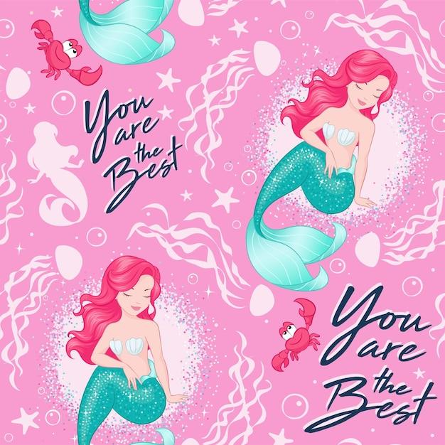 Schönes meerjungfrauenmuster auf rosa hintergrund. design für kinder. modeillustrationszeichnung im modernen stil für kleidung oder stoff. sommerdruck. Premium Vektoren