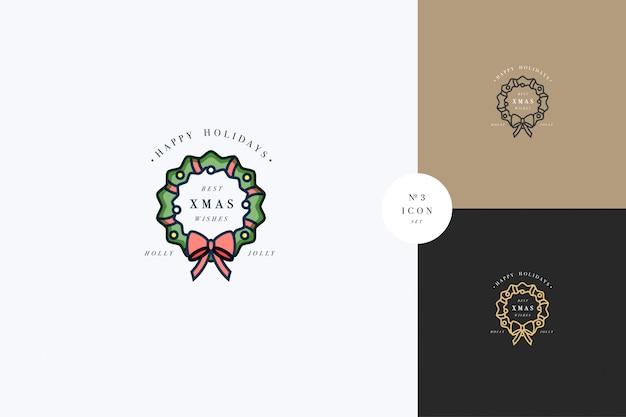 Schönes merry xmas-konzept mit grünem kranz, verziert mit rotem band und goldenen globen. typischer advents- oder weihnachtshaushalt Premium Vektoren