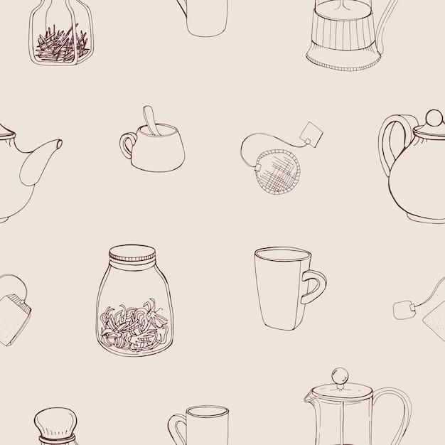 Schönes nahtloses muster mit handgezeichneten küchenwerkzeugen und zutaten zum zubereiten und trinken von tee - französische presse, teekanne, tasse, becher, kräuter. Premium Vektoren