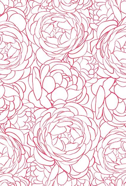 Schönes nahtloses muster mit rosa rosen Premium Vektoren