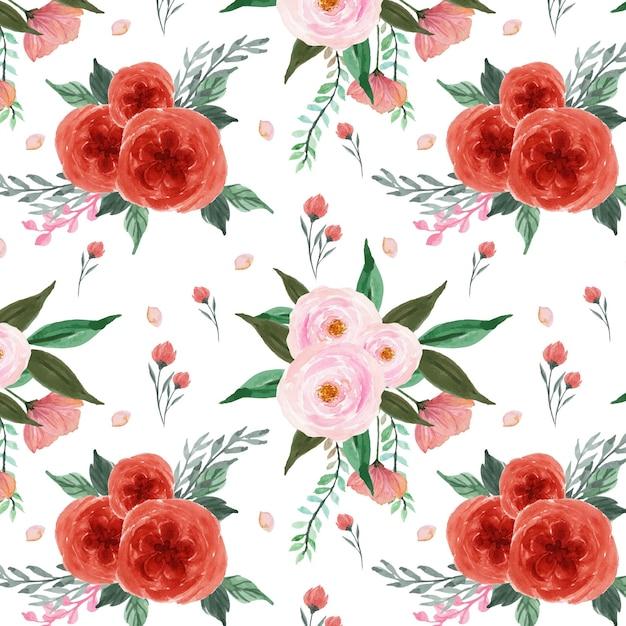 Schönes nahtloses rotes und rosa blumenmuster Premium Vektoren