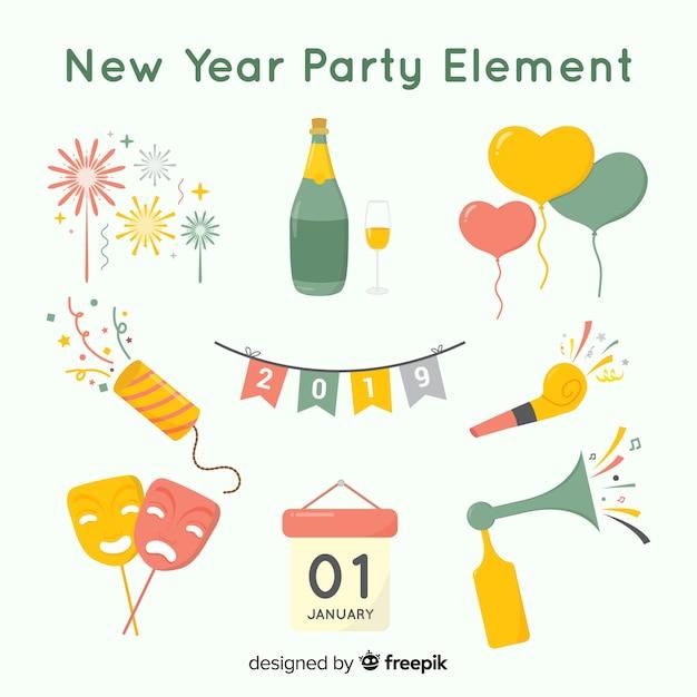 Schönes neues jahr party element sammlung mit flachen design Kostenlosen Vektoren