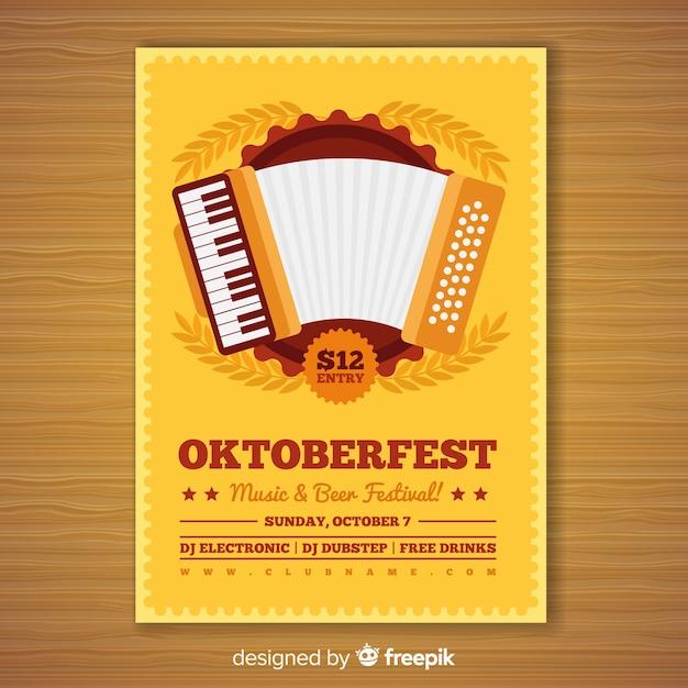 Schönes oktoberfest party poster mit flachem design Kostenlosen Vektoren