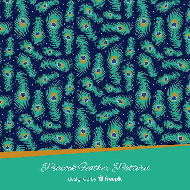 Schönes pfauenfedermuster mit flachem design Kostenlosen Vektoren
