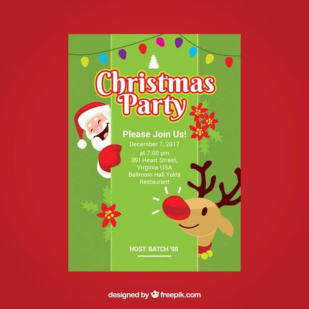 Weihnachtsfeier Plakat.Schönes Plakat Der Weihnachtsfeier Mit Weihnachtsmann Und Ren