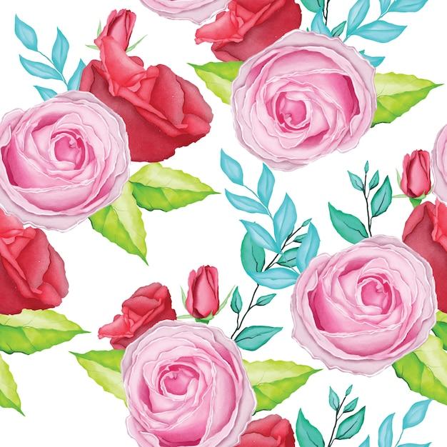 Schönes rosafarbenes rosenmuster mit aquarell Premium Vektoren