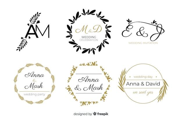Schönes und elegantes logo oder firmenzeichen stellten für hochzeit oder floristen ein Kostenlosen Vektoren