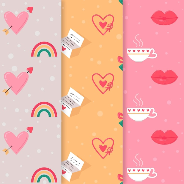 Schönes valentinstag-musterpaket Kostenlosen Vektoren