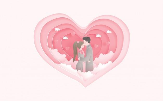 Schönes verheiratetes paar mit herzform. valentinskarte und reisewerbung für paare. Premium Vektoren