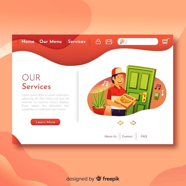 Schönes webdesignkonzept mit flachem design Kostenlosen Vektoren