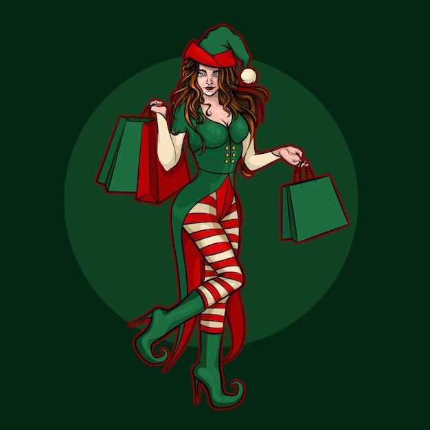 Schönes weihnachtselfenmädchen mit geschenkbeuteln Premium Vektoren