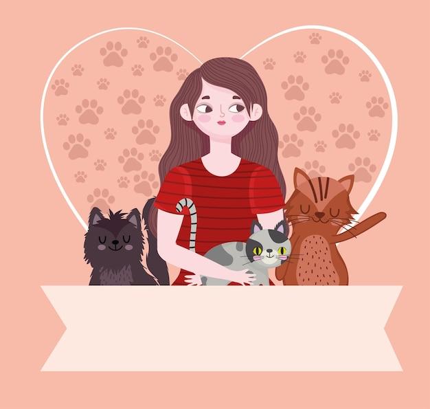 Schönheit frau karikatur katzen herz mit pfoten und banner vorlage illustration Premium Vektoren
