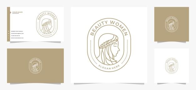 Schönheit frauen haar logo und visitenkarte Premium Vektoren