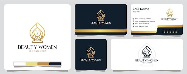 Schönheit frauen, luxus, salon, spa, goldfarbe, banner, visitenkarte und logo-design Premium Vektoren