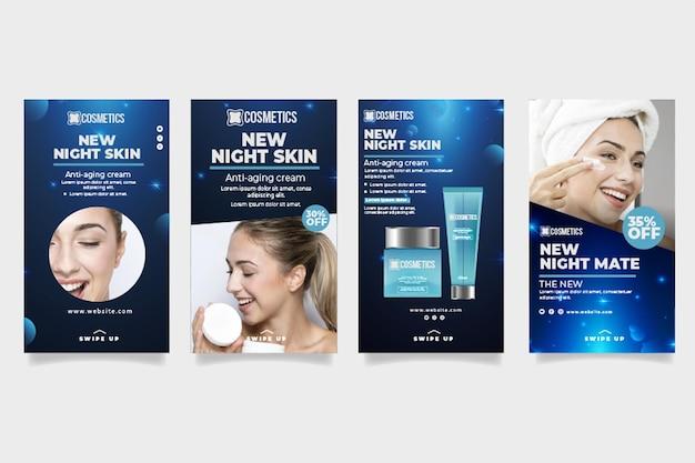 Schönheit gesichtskosmetik instagram geschichten vorlage Kostenlosen Vektoren