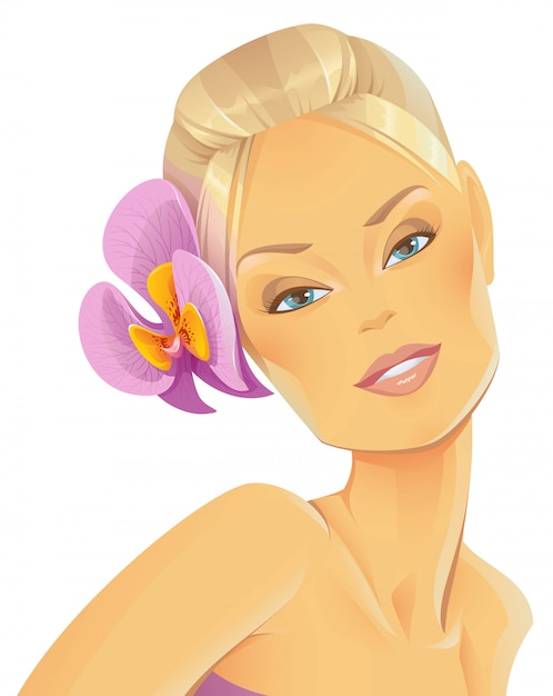 Schönheit mit einer orchidee im haar Premium Vektoren