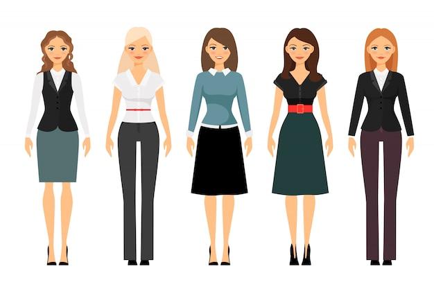 Schönheiten im unterschiedlichen artkleidungsvektor. frauen kleiderordnung illustration Premium Vektoren