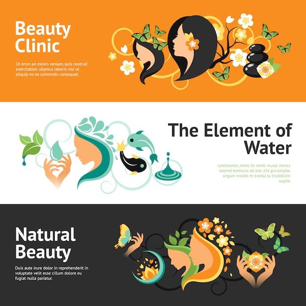 Schönheits-fahnen-set Kostenlosen Vektoren
