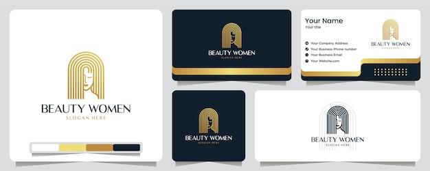 Schönheitsfrauen, goldfarbe, luxus, banner, visitenkarte und logo-design Premium Vektoren