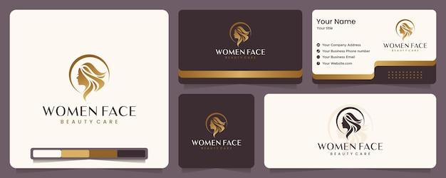 Schönheitsfrauen, schönheitspflege, frauengesicht, goldfarbe, eleganz, banner und visitenkarte, logo-design-inspiration Premium Vektoren