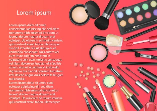 Schönheitskosmetik make-up-tools Premium Vektoren