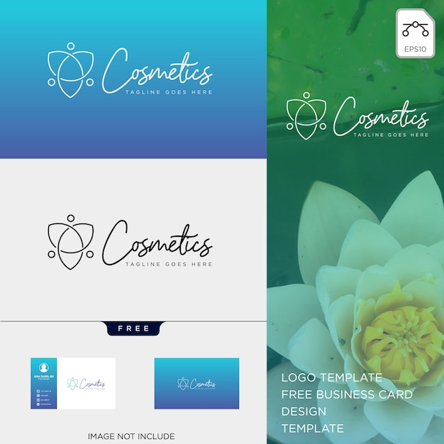 Schönheitskosmetiklinie kunstlogoschablonenvektorillustrations-ikonenelement Premium Vektoren