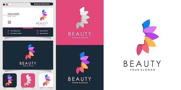 Schönheitslogo für frau mit einzigartigem stil und visitenkarten-designschablone, blatt, frau, schönheit, gesicht, blatt, modern, Premium Vektoren