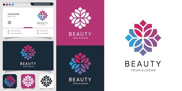 Schönheitslogo mit mozaic konzept und visitenkartenentwurf, spa, schönheit, gesundheit, frau, ikone Premium Vektoren