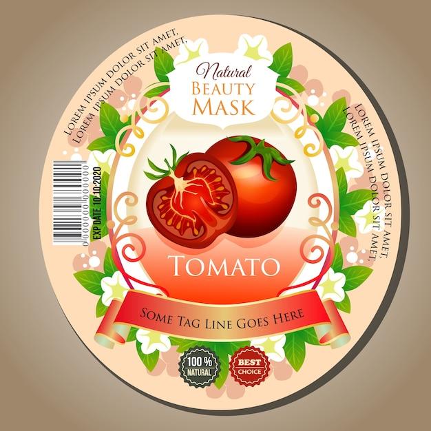 Schönheitsmaske tomaten label aufkleber Premium Vektoren