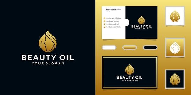 Schönheitsöl-logo und weibliche gesichtsschablone und visitenkarte Premium Vektoren