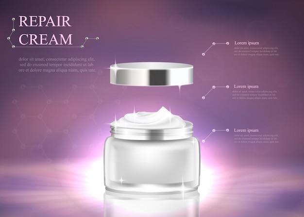 Schönheitspflegeprodukt. silbernes glasgefäß mit sahne Premium Vektoren