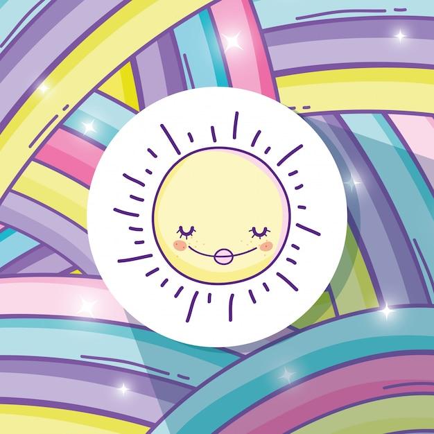 Schönheitsregenbogen und glücklicher sonnenaufkleber Premium Vektoren