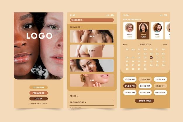 Schönheitssalon buchungs-app Kostenlosen Vektoren