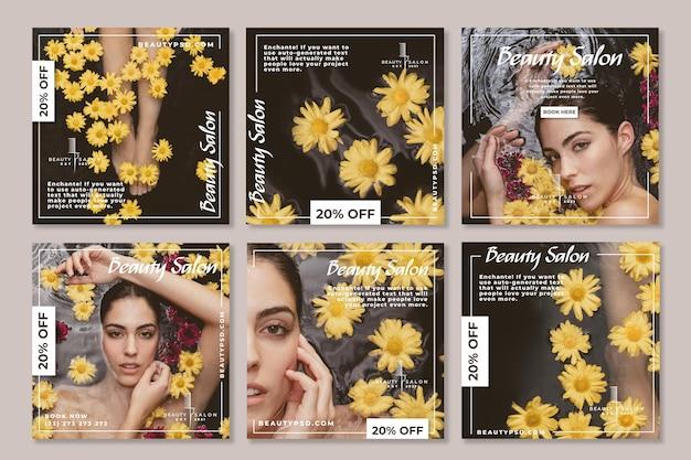 Schönheitssalon instagram beiträge Kostenlosen Vektoren