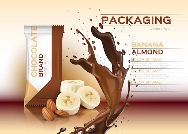 Schokolade mit bananen und mandeln Premium Vektoren