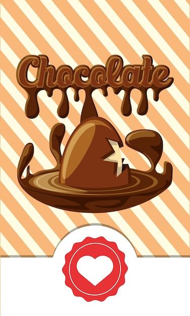 Schokolade mit gebrochener schokoladeneiikone Premium Vektoren