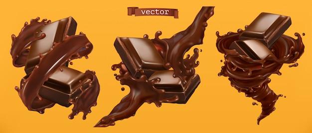 Schokolade und spritzer. 3d realistischer vektor Premium Vektoren