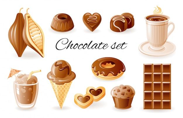 Schokoladen-, kaffee- und kakaokarikaturikonen. süßes essen mit süßigkeiten, donut, muffin, kakaobohne, cookie gesetzt. Premium Vektoren