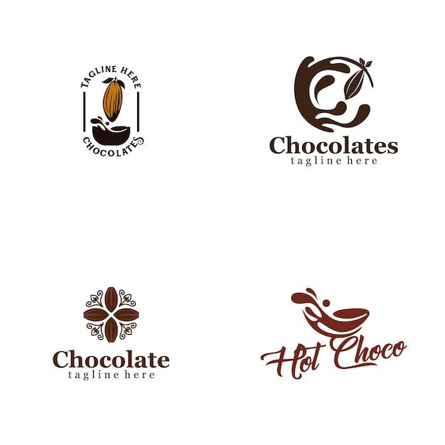Schokoladen-logo-sammlung Premium Vektoren