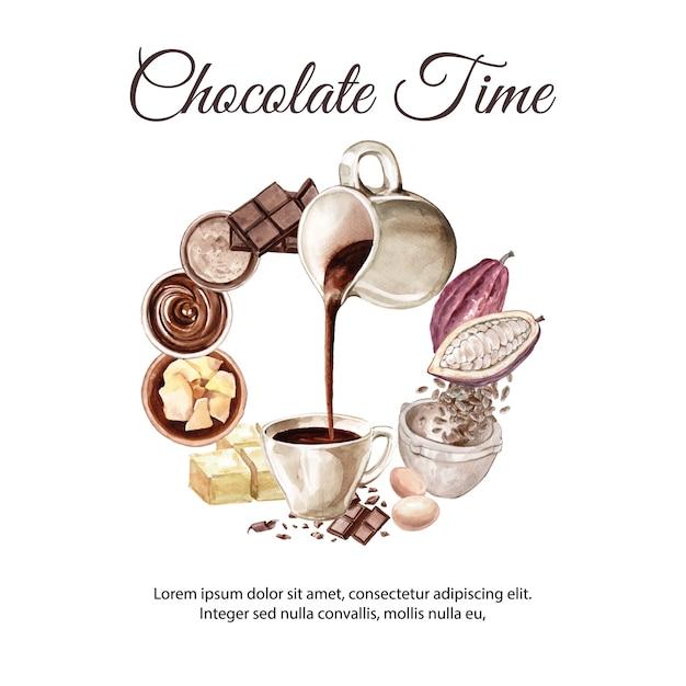 Schokoladenaquarellbestandteile, schokoladengetränk kakao und butterillustration machend Kostenlosen Vektoren