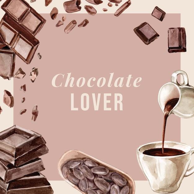 Schokoladenaquarellbestandteile, schokoladengetränk machend, illustration Kostenlosen Vektoren